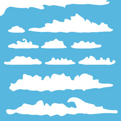 vector white summer clouds set isolated on blue