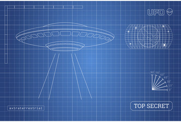Blueprint of UFO. Technical document with the drawing of alien spaceship