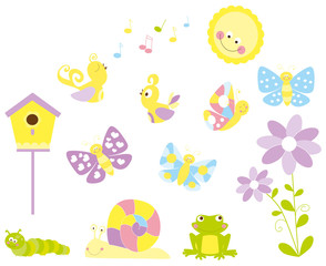 spring elements set/ vectors collection for children with sun, butterflies, snail and smiling frog