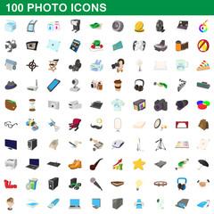 100 photo icons set, cartoon style