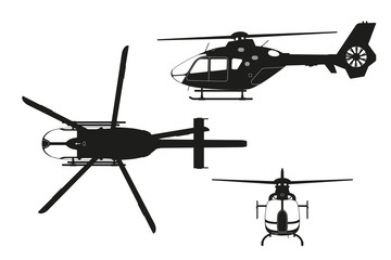 Black silhouette of helicopter on white background. Top, side, front view. Isolated drawing. Vector illustration Wall mural