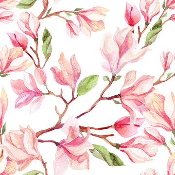 Watercolor magnolia flower seamless pattern.