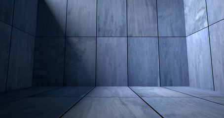 Blue Concrete Room with Shadow