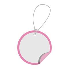 elegant circular pink label over white background, vector illustration design
