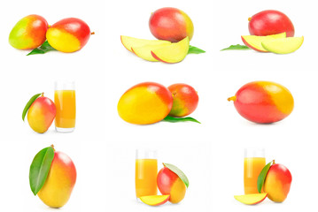 Set of red mango isolated on a white background cutout