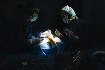Surgeons performing surgery in operating.