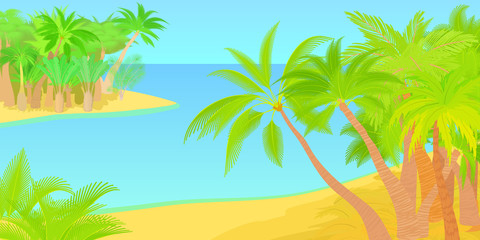 Palms horizontal banner island, cartoon style