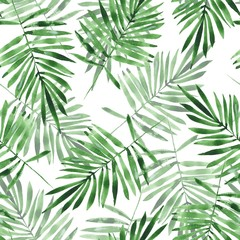 Green leaves. Watercolor seamless pattern. Hand drawn floral background
