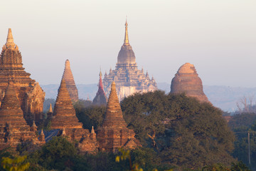 Wall Murals Deep brown Bagan temple during golden hour