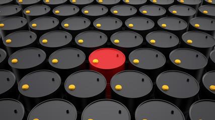 Rows of barrels of oil. Red oil barrel among black oil barrels.