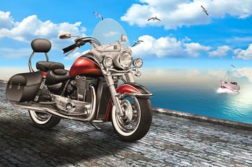Motorrad, Bike auf der Uferstrasse am Meer