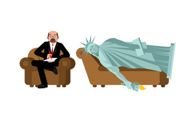 American depression. Statue of liberty at psychologist reception. Consultation of psychotherapist. Sad symbol of USA