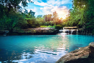 Natural background waterfall. Waterfall Emerald Pool