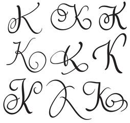 set of art calligraphy letter K with flourish of vintage decorative whorls. Vector illustration EPS10
