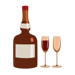 Vector Illustration of Liquor bottle and glasses