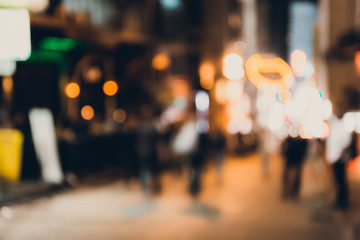 Abstract bokeh background of people at lan kwai fong on friday night