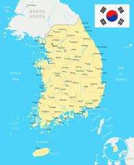 South Korea - map and flag - illustration