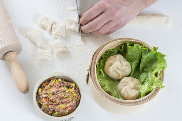 Hands preparing homemade dim-sum asian dumplings
