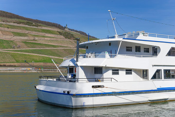Excursion boat trip on the Rhine near Bingen Ruedesheim in the world cultural heritage middle Rhine valley