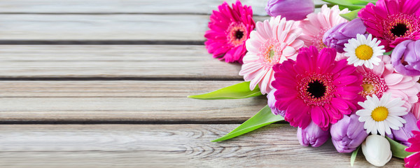 Wall Murals Gerbera Flowers and wooden background