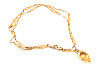 Golden necklace with leaf pendant isolated on white