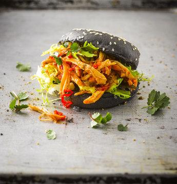 Black Bun Pulled Chicken Burger