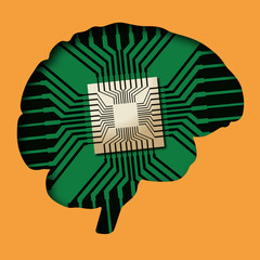 cerveau - puce électronique - Intelligence Artificielle - avenir - robot