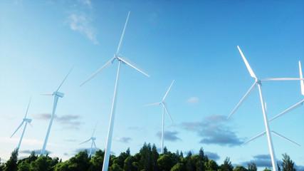 wind turbine. monderfull landscape. Ecological concept. 3d rendering.
