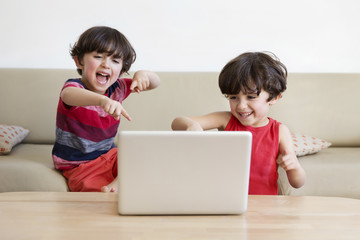 Twin brothers sitting on the couch watching movie with laptop