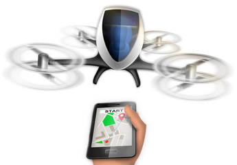 Autonomous aerial vehicle called by the smartphone