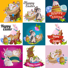 Poster de jardin Route Set of easter chocolate egg hunt bunny basket on green grass decorated flowers, rabbit funny ears, happy spring season holiday tradition greeting card banner collection vector illustration background