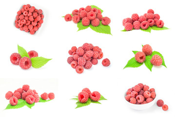 Collage of raspberries isolated on white