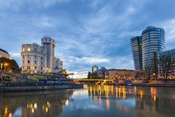 Austria, Vienna, Danube Canal, Urania, observatory and cinema, Uniqa Tower