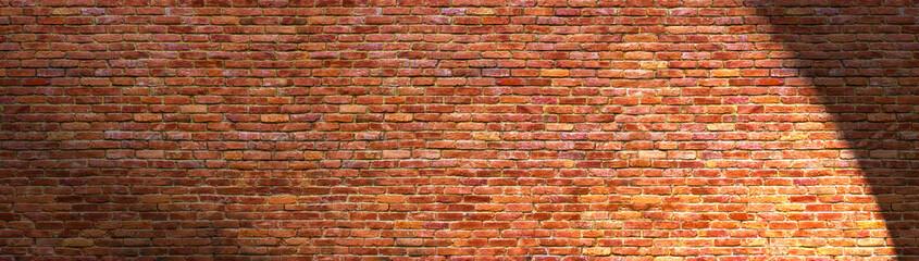grunge brick wall, old brickwork panoramic view