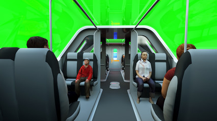 futuristic passenger flying bus. Transport of the future. 3d rendering isolate.