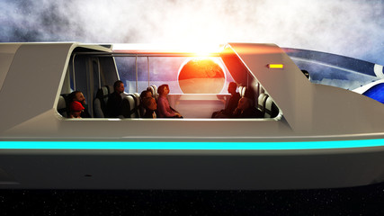 futuristic passenger bus flying in space. Transport of the future. 3d rendering.