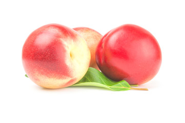 Isolated peaches on a white background. Clipping path