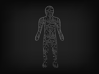 person made of electronic microchip style circuits