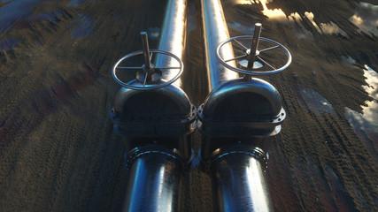 oil, gas valve. Pipeline in desert. Oil concept. 3d rendering.