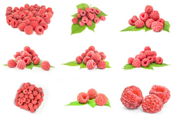 Set of rasp berry isolated on a white background with clipping path