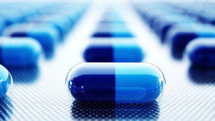 tablets and pills packed. Medical concept, background. 3d rendering.