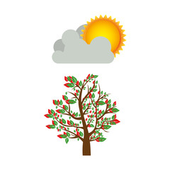 colorful spring picture with leafy tree with cloud and sun vector illustration