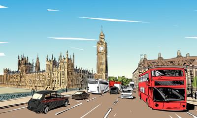 London cityscape hand drawn. Big Ben. England. vector illustration.