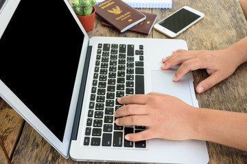 A female hands working with laptop