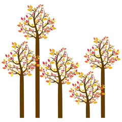 colorful autumn tree set collection vector illustration