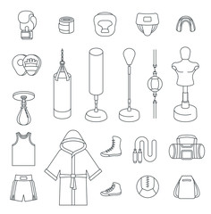 Boxing icons flat design vector thin line icons. Boxer training equipment outline symbols. Sport workout tools, protection, clothes and shoes. Martial arts linear elements