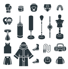 Boxing icons flat design vector silhouettes icons. Boxer training equipment symbols. Sport workout tools, protection, clothes and shoes. Martial arts elements