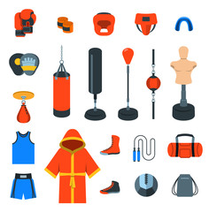 Boxing icons flat design vector colorful icons. Boxer training equipment symbols. Sport workout tools, protection, clothes and shoes. Martial arts elements