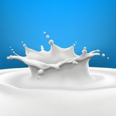 Big milk splash on blue gradient background high quality vector realistic illustration