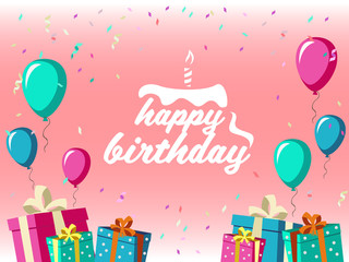 Happy birthday - Celebrate With Gift box , balloon and ribbon party and pink background vector design